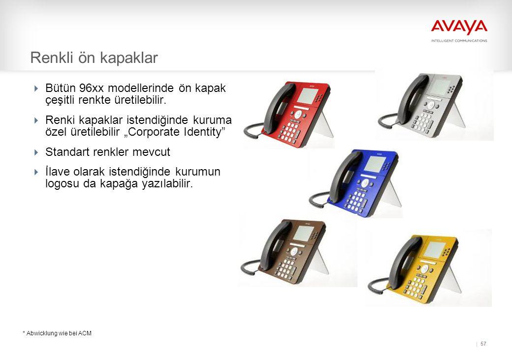 57 Renkli ön kapaklar  Bütün 96xx modellerinde ön kapak çeşitli renkte üretilebilir.
