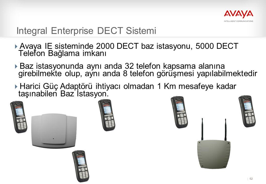 62 Integral Enterprise DECT Sistemi  Avaya IE sisteminde 2000 DECT baz istasyonu, 5000 DECT Telefon Bağlama imkanı  Baz istasyonunda aynı anda 32 telefon kapsama alanına girebilmekte olup, aynı anda 8 telefon görüşmesi yapılabilmektedir  Harici Güç Adaptörü ihtiyacı olmadan 1 Km mesafeye kadar taşınabilen Baz İstasyon.