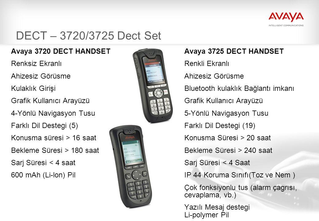 65 DECT – 3720/3725 Dect Set Avaya 3720 DECT HANDSET Avaya 3725 DECT HANDSET Renksiz Ekranlı Renkli Ekranlı Ahizesiz Görüsme Kulaklık GirişiBluetooth kulaklık Bağlantı imkanı Grafik Kullanıcı Arayüzü 4-Yönlü Navigasyon Tusu 5-Yönlü Navigasyon Tusu Farklı Dil Destegi (5) Farklı Dil Destegi (19) Konusma süresi > 16 saat Konusma Süresi > 20 saat Bekleme Süresi > 180 saat Bekleme Süresi > 240 saat Sarj Süresi < 4 saat Sarj Süresi < 4 Saat 600 mAh (Li-lon) PilIP 44 Koruma Sınıfı(Toz ve Nem ) Çok fonksiyonlu tus (alarm çagrısı, cevaplama, vb.) Yazılı Mesaj destegi Li-polymer Pil