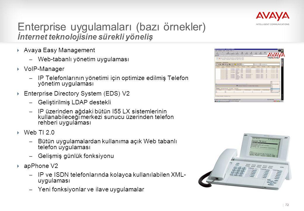 72 Enterprise uygulamaları (bazı örnekler) İnternet teknolojisine sürekli yöneliş  Avaya Easy Management – Web-tabanlı yönetim uygulaması  VoIP-Manager – IP Telefonlarının yönetimi için optimize edilmiş Telefon yönetim uygulaması  Enterprise Directory System (EDS) V2 – Geliştirilmiş LDAP destekli – IP üzerinden ağdaki bütün I55 LX sistemlerinin kullanabileceği merkezi sunucu üzerinden telefon rehberi uygulaması  Web TI 2.0 – Bütün uygulamalardan kullanıma açık Web tabanlı telefon uygulaması – Gelişmiş günlük fonksiyonu  apPhone V2 – IP ve ISDN telefonlarında kolayca kullanılabilen XML- uygulaması – Yeni fonksiyonlar ve ilave uygulamalar
