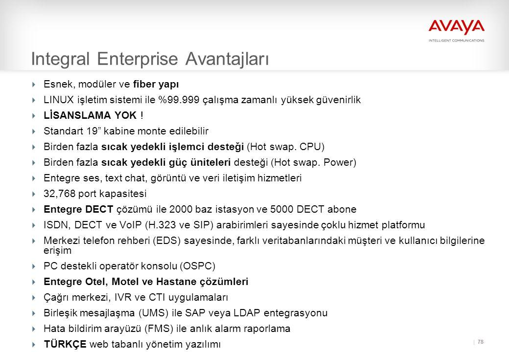 78 Integral Enterprise Avantajları  Esnek, modüler ve fiber yapı  LINUX işletim sistemi ile %99.999 çalışma zamanlı yüksek güvenirlik  LİSANSLAMA YOK .