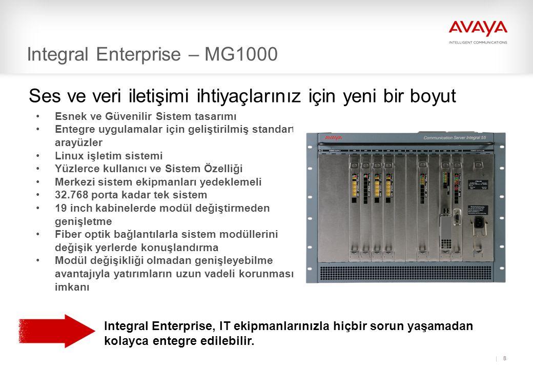 8 Integral Enterprise – MG1000 Ses ve veri iletişimi ihtiyaçlarınız için yeni bir boyut •Esnek ve Güvenilir Sistem tasarımı •Entegre uygulamalar için geliştirilmiş standart arayüzler •Linux işletim sistemi •Yüzlerce kullanıcı ve Sistem Özelliği •Merkezi sistem ekipmanları yedeklemeli •32.768 porta kadar tek sistem •19 inch kabinelerde modül değiştirmeden genişletme •Fiber optik bağlantılarla sistem modüllerini değişik yerlerde konuşlandırma •Modül değişikliği olmadan genişleyebilme avantajıyla yatırımların uzun vadeli korunması imkanı Integral Enterprise, IT ekipmanlarınızla hiçbir sorun yaşamadan kolayca entegre edilebilir.