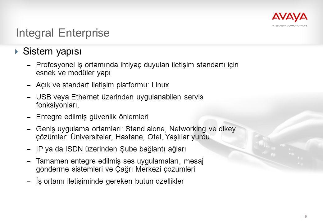 9 Integral Enterprise  Sistem yapısı – Profesyonel iş ortamında ihtiyaç duyulan iletişim standartı için esnek ve modüler yapı – Açık ve standart iletişim platformu: Linux – USB veya Ethernet üzerinden uygulanabilen servis fonksiyonları.