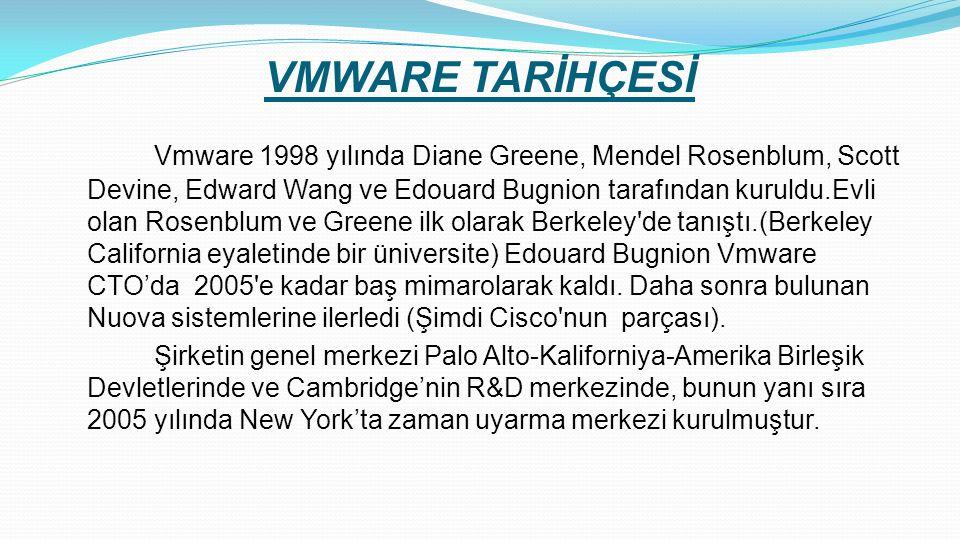 VMWARE TARİHÇESİ Vmware 1998 yılında Diane Greene, Mendel Rosenblum, Scott Devine, Edward Wang ve Edouard Bugnion tarafından kuruldu.Evli olan Rosenblum ve Greene ilk olarak Berkeley de tanıştı.(Berkeley California eyaletinde bir üniversite) Edouard Bugnion Vmware CTO'da 2005 e kadar baş mimarolarak kaldı.