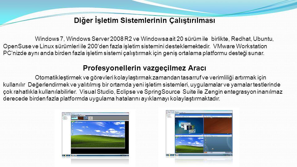Diğer İşletim Sistemlerinin Çalıştırılması Windows 7, Windows Server 2008 R2 ve Windowsa ait 20 sürüm ile birlikte, Redhat, Ubuntu, OpenSuse ve Linux sürümleri ile 200 den fazla işletim sistemini desteklemektedir.