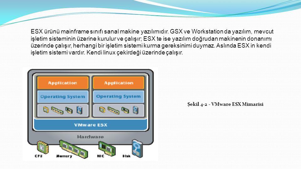 ESX ürünü mainframe sınıfı sanal makine yazılımıdır.