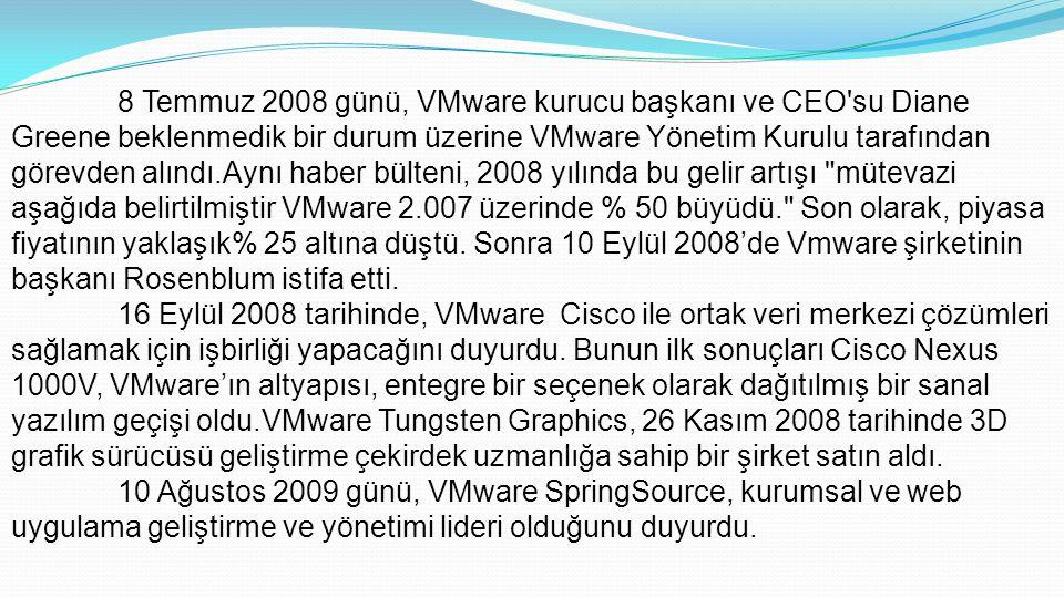 8 Temmuz 2008 günü, VMware kurucu başkanı ve CEO su Diane Greene beklenmedik bir durum üzerine VMware Yönetim Kurulu tarafından görevden alındı.Aynı haber bülteni, 2008 yılında bu gelir artışı mütevazi aşağıda belirtilmiştir VMware 2.007 üzerinde % 50 büyüdü. Son olarak, piyasa fiyatının yaklaşık% 25 altına düştü.