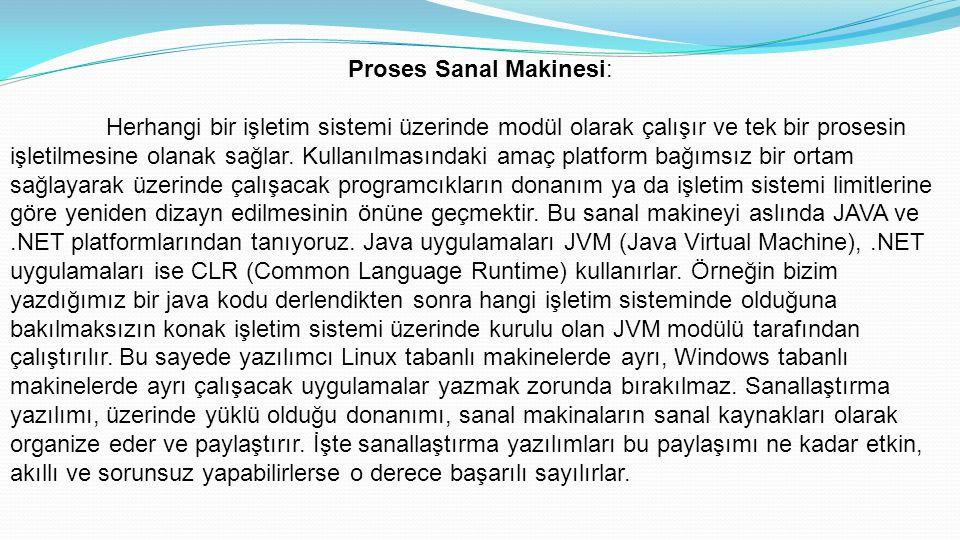 Proses Sanal Makinesi: Herhangi bir işletim sistemi üzerinde modül olarak çalışır ve tek bir prosesin işletilmesine olanak sağlar.