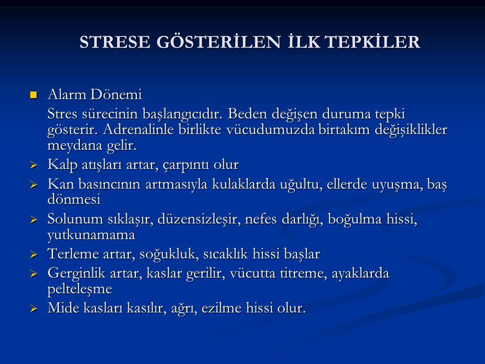 STRESE GÖSTERİLEN İLK TEPKİLER  Alarm Dönemi Stres sürecinin başlangıcıdır. Beden değişen duruma tepki gösterir. Adrenalinle birlikte vücudumuzda bir