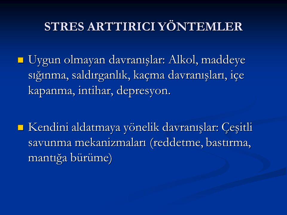 STRES ARTTIRICI YÖNTEMLER  Uygun olmayan davranışlar: Alkol, maddeye sığınma, saldırganlık, kaçma davranışları, içe kapanma, intihar, depresyon.  Ke