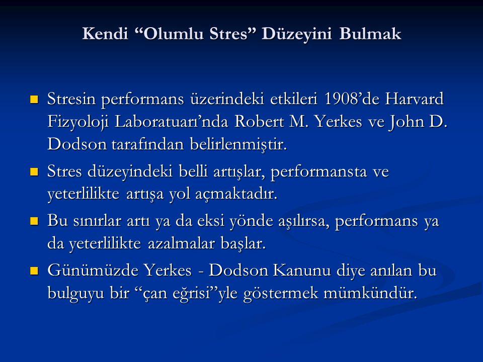 """Kendi """"Olumlu Stres"""" Düzeyini Bulmak  Stresin performans üzerindeki etkileri 1908'de Harvard Fizyoloji Laboratuarı'nda Robert M. Yerkes ve John D. Do"""