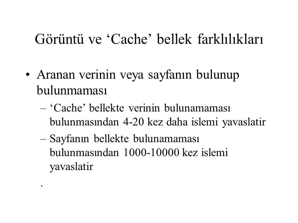 Görüntü ve 'Cache' bellek farklılıkları •Aranan verinin veya sayfanın bulunup bulunmaması –'Cache' bellekte verinin bulunamaması bulunmasından 4-20 ke