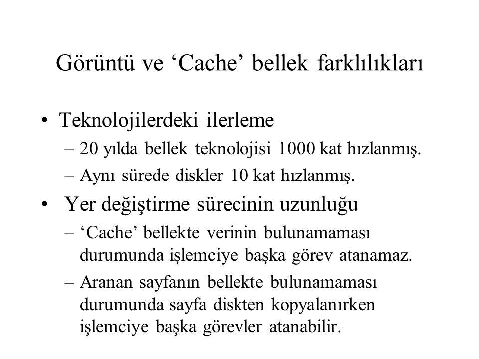 Görüntü ve 'Cache' bellek farklılıkları •Teknolojilerdeki ilerleme –20 yılda bellek teknolojisi 1000 kat hızlanmış. –Aynı sürede diskler 10 kat hızlan