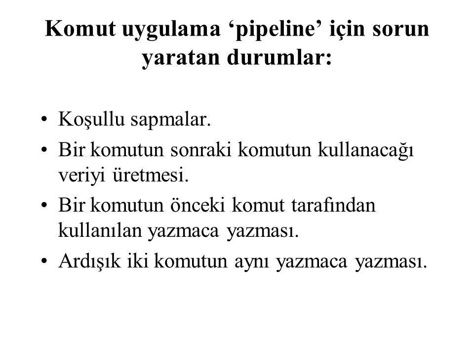 Komut uygulama 'pipeline' için sorun yaratan durumlar: •Koşullu sapmalar. •Bir komutun sonraki komutun kullanacağı veriyi üretmesi. •Bir komutun öncek