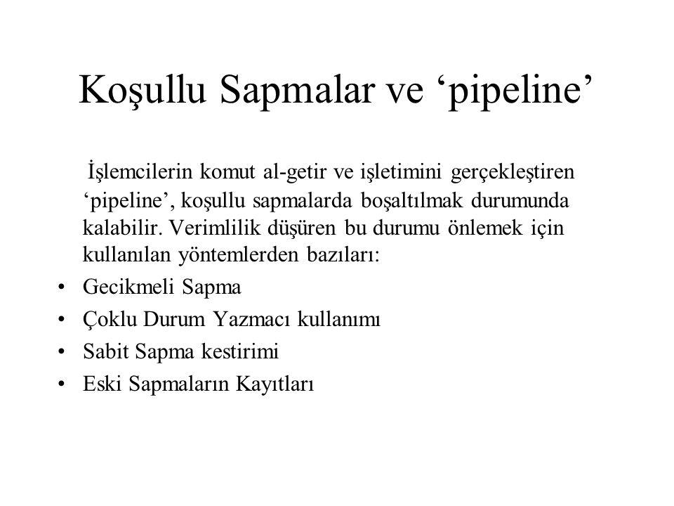 Koşullu Sapmalar ve 'pipeline' İşlemcilerin komut al-getir ve işletimini gerçekleştiren 'pipeline', koşullu sapmalarda boşaltılmak durumunda kalabilir