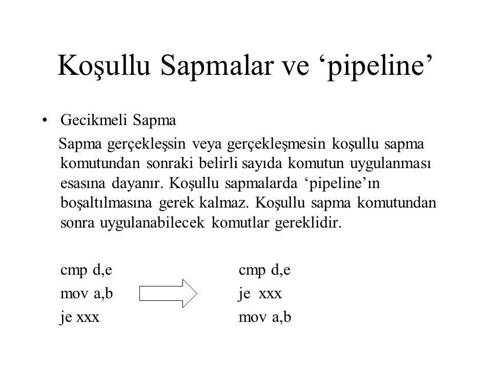 Koşullu Sapmalar ve 'pipeline' •Gecikmeli Sapma Sapma gerçekleşsin veya gerçekleşmesin koşullu sapma komutundan sonraki belirli sayıda komutun uygulan