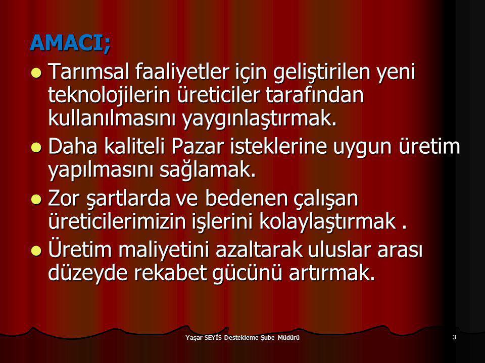 BAŞVURACAK KİŞİ VE KURULUŞLAR   (1) Bakanlık tarafından oluşturulan çiftçi kayıt sistemine veya Bakanlık tarafından oluşturulan diğer kayıt sistemlerine kayıtlı olmak şartıyla; a) Tebliğin 8 inci maddesinde belirtilen her bir mal grubuna ait başvuracak gerçek ve tüzel kişiler, b) 29/6/1956 tarihli ve 6762 sayılı Türk Ticaret Kanunu ve 22/4/1926 tarihli ve 818 sayılı Borçlar Kanununda tanımlanan kolektif şirket, limited şirket ve anonim şirket şeklinde kurulmuş olan şirketler, Yaşar SEYİS Destekleme Şube Müdürü 14