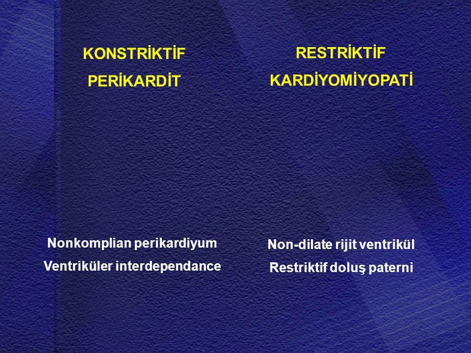 Non-dilate rijit ventrikül Restriktif doluş paterni Nonkomplian perikardiyum Ventriküler interdependance RESTRİKTİF KARDİYOMİYOPATİ KONSTRİKTİF PERİKA
