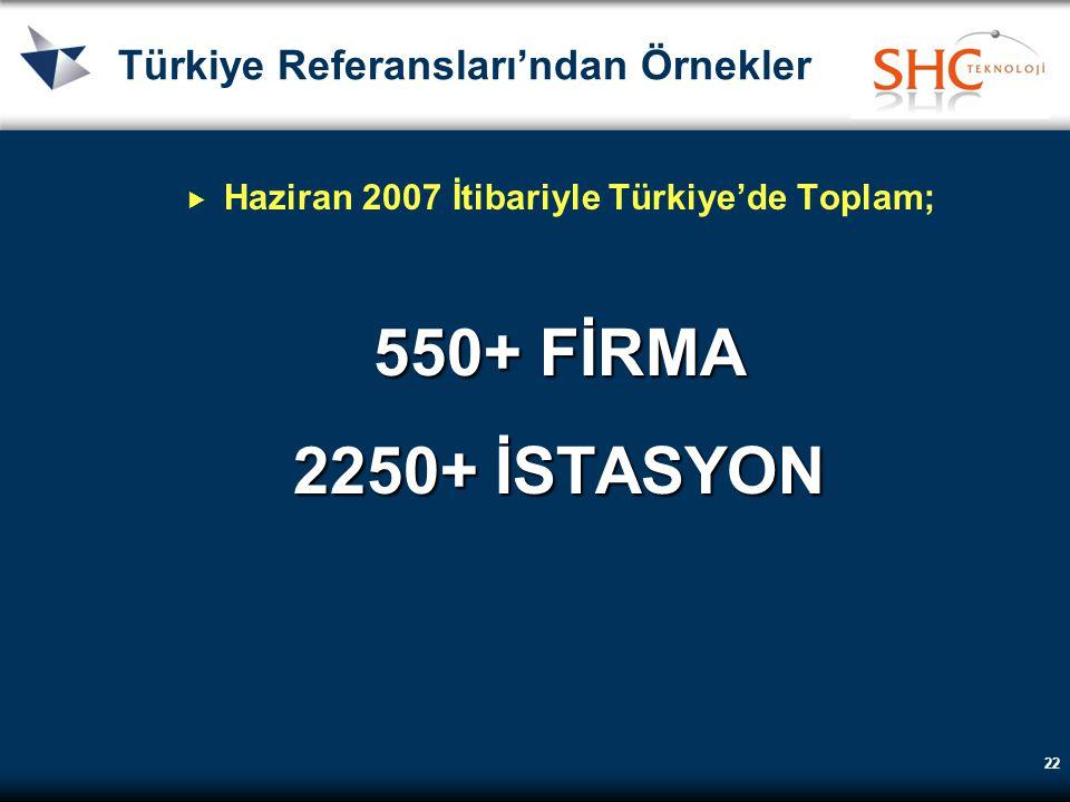 22 Türkiye Referansları'ndan Örnekler  Haziran 2007 İtibariyle Türkiye'de Toplam; 550+ FİRMA 2250+İSTASYON 2250+ İSTASYON