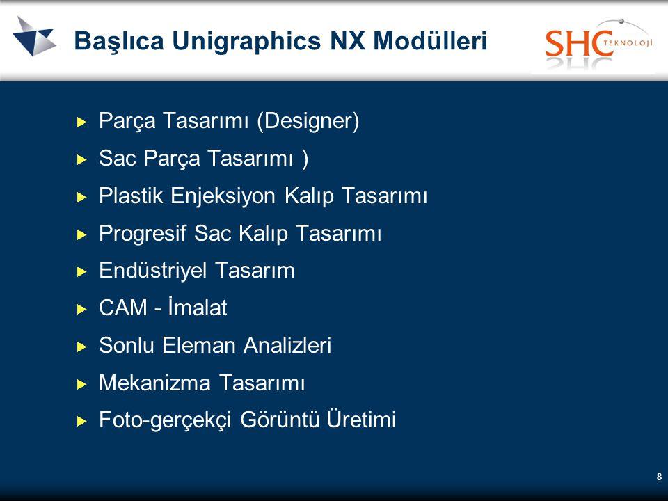 8 Başlıca Unigraphics NX Modülleri  Parça Tasarımı (Designer)  Sac Parça Tasarımı )  Plastik Enjeksiyon Kalıp Tasarımı  Progresif Sac Kalıp Tasarı