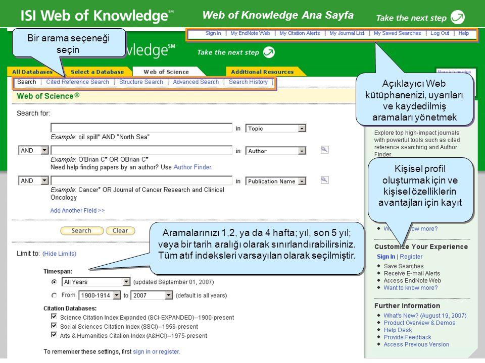 Copyright 2006 Thomson Corporation 15 Web of Knowledge Ana Sayfa Kişisel profil oluşturmak için ve kişisel özelliklerin avantajları için kayıt Açıklay