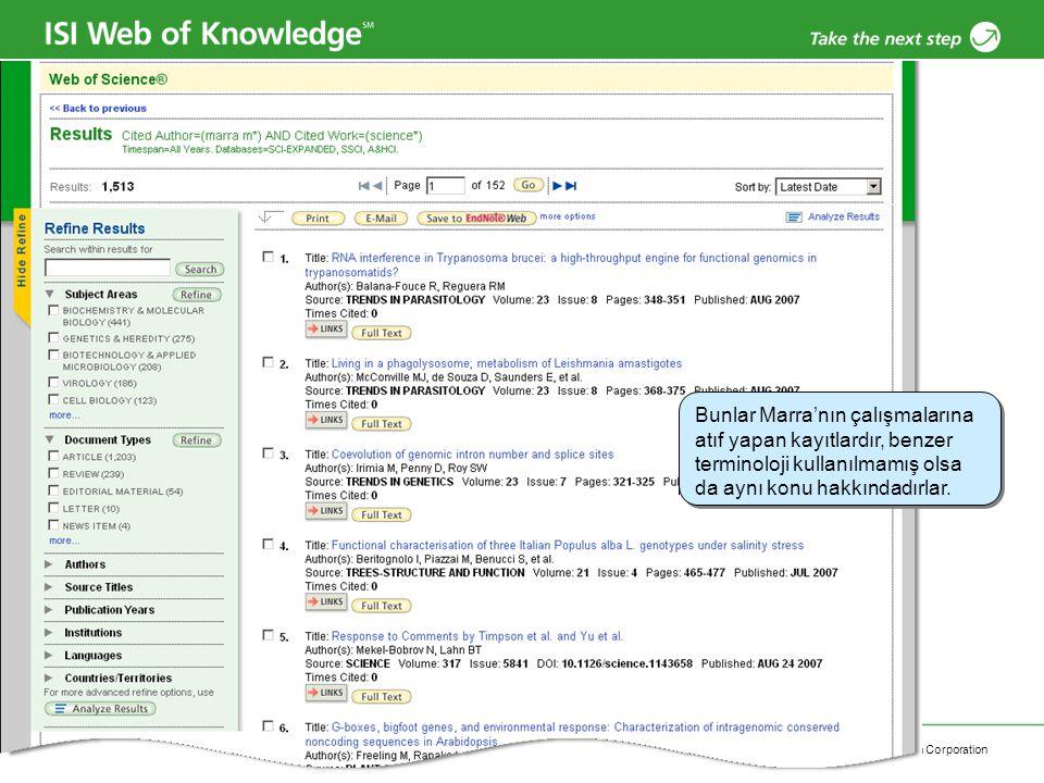 Copyright 2006 Thomson Corporation 42 Cited Reference Search / Results Bunlar Marra'nın çalışmalarına atıf yapan kayıtlardır, benzer terminoloji kulla