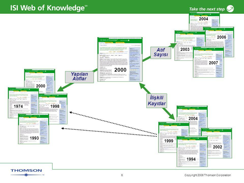 Copyright 2006 Thomson Corporation 7 Atıf İndeksi (Citation Index) – Değer katar Araştırma kavramlar ve terminoloji geliştirdiği için araştırmanın dili devamlı değişir.