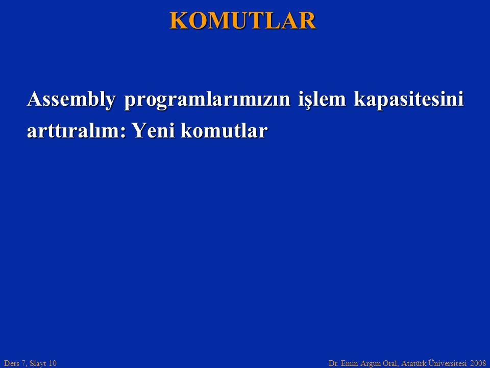 Dr. Emin Argun Oral, Atatürk Üniversitesi 2008 Ders 7, Slayt 10 Assembly programlarımızın işlem kapasitesini arttıralım: Yeni komutlar KOMUTLAR