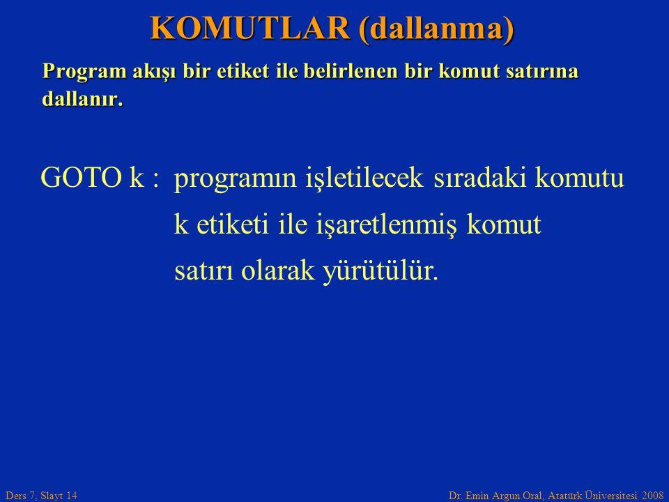 Dr. Emin Argun Oral, Atatürk Üniversitesi 2008 Ders 7, Slayt 14 Program akışı bir etiket ile belirlenen bir komut satırına dallanır. KOMUTLAR (dallanm