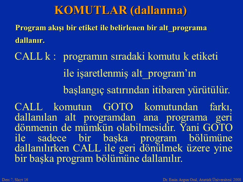 Dr. Emin Argun Oral, Atatürk Üniversitesi 2008 Ders 7, Slayt 16 Program akışı bir etiket ile belirlenen bir alt_programa dallanır. KOMUTLAR (dallanma)