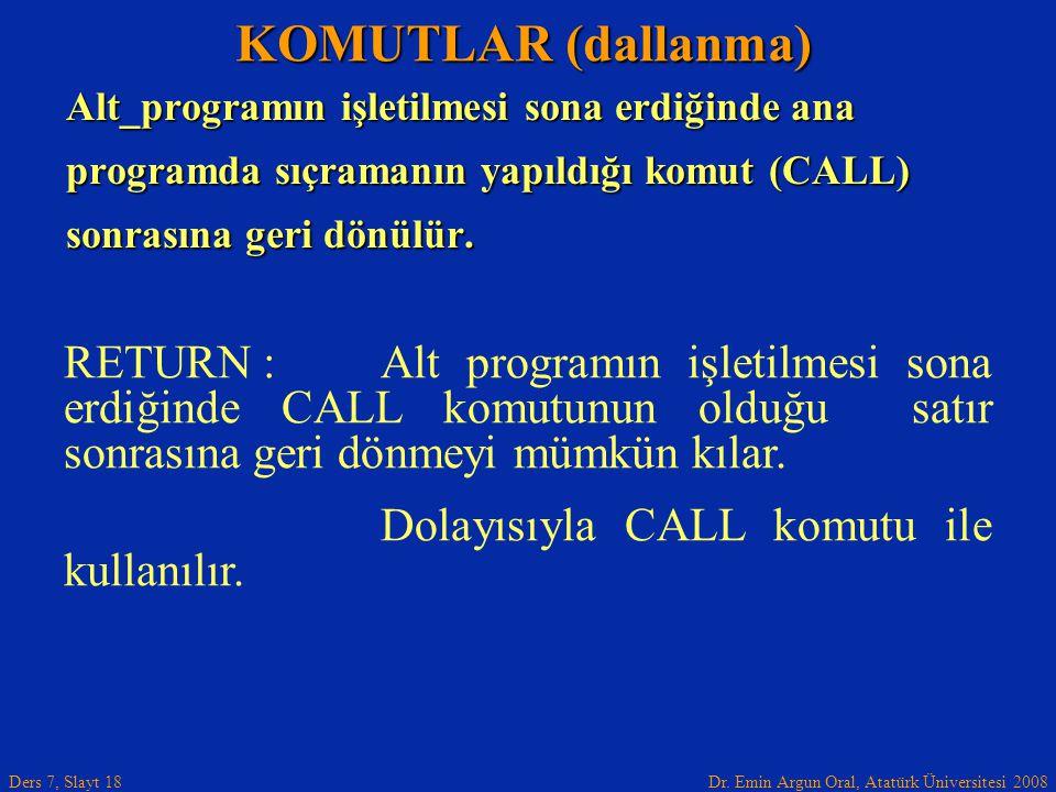 Dr. Emin Argun Oral, Atatürk Üniversitesi 2008 Ders 7, Slayt 18 Alt_programın işletilmesi sona erdiğinde ana programda sıçramanın yapıldığı komut (CAL