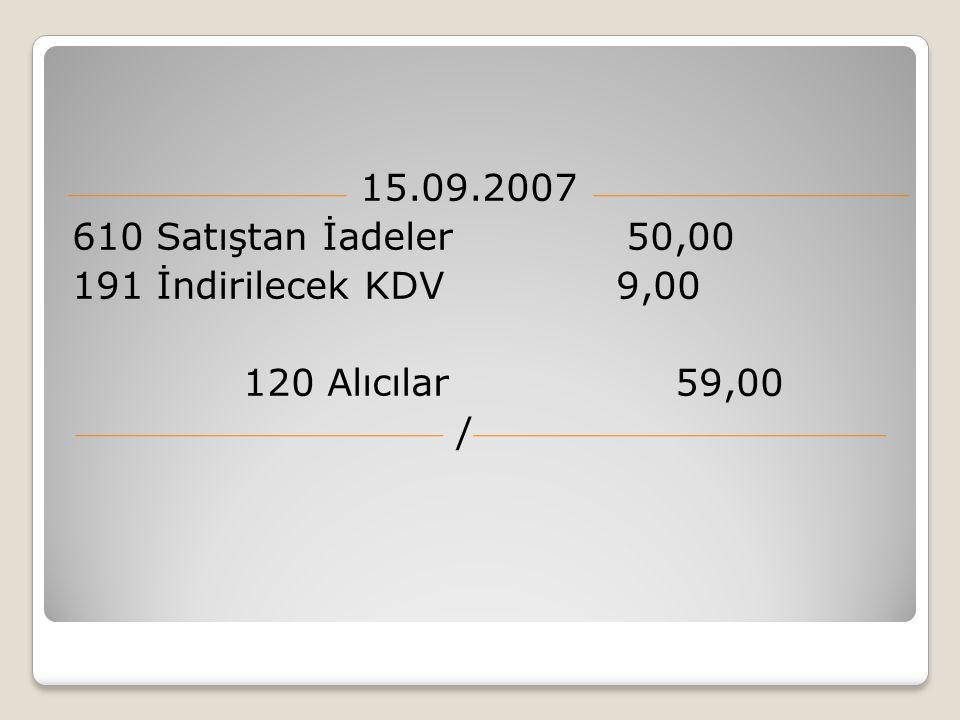 15.09.2007 610 Satıştan İadeler 50,00 191 İndirilecek KDV 9,00 120 Alıcılar 59,00 /