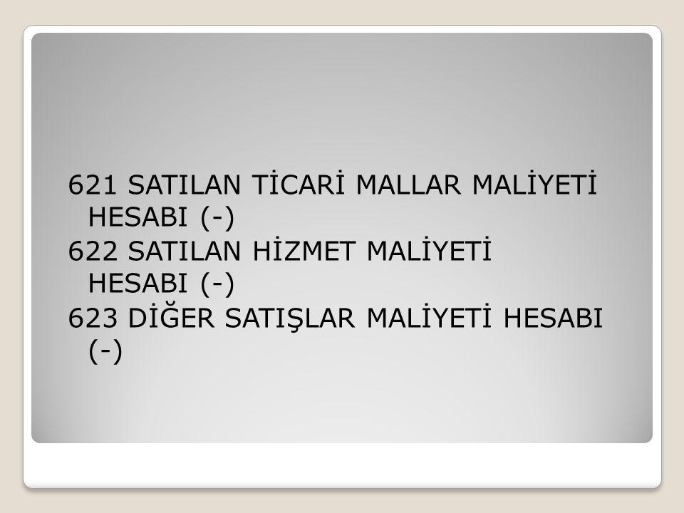 621 SATILAN TİCARİ MALLAR MALİYETİ HESABI (-) 622 SATILAN HİZMET MALİYETİ HESABI (-) 623 DİĞER SATIŞLAR MALİYETİ HESABI (-)