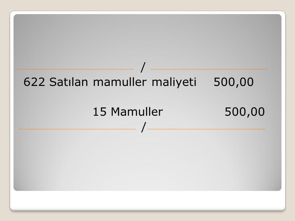 / 622 Satılan mamuller maliyeti 500,00 15 Mamuller 500,00 /