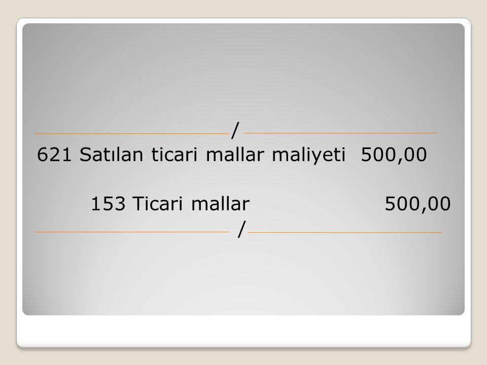 621 Satılan ticari mallar maliyeti 500,00 153 Ticari mallar 500,00 /