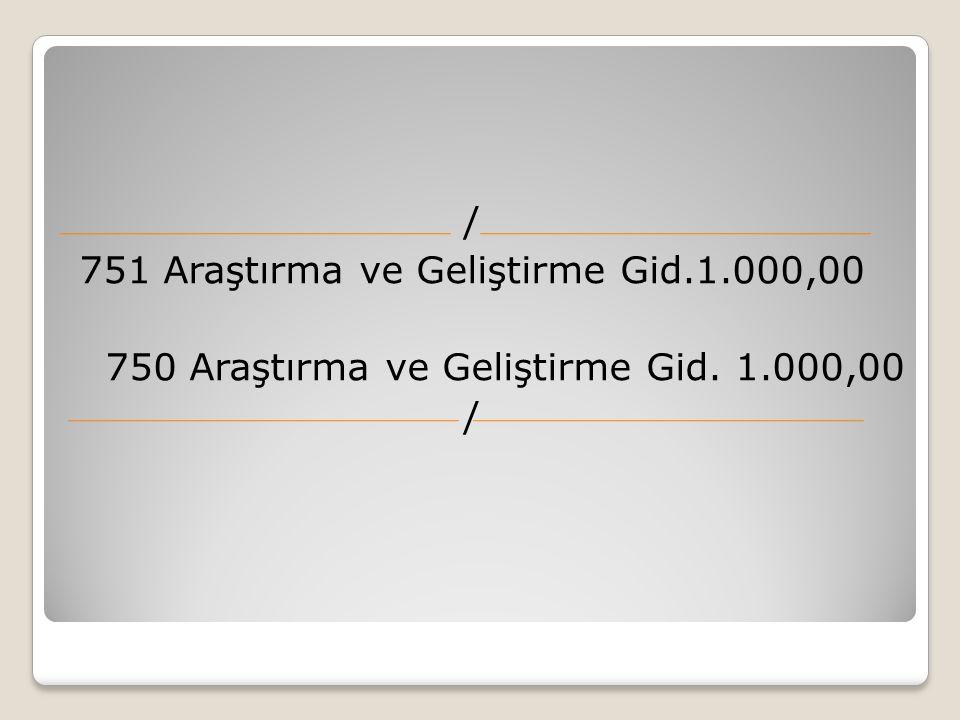 751 Araştırma ve Geliştirme Gid.1.000,00 750 Araştırma ve Geliştirme Gid. 1.000,00 /