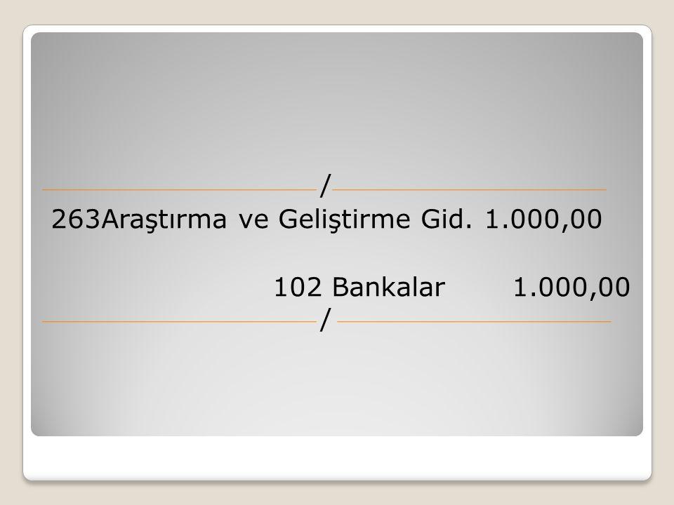 / 263Araştırma ve Geliştirme Gid. 1.000,00 102 Bankalar 1.000,00 /