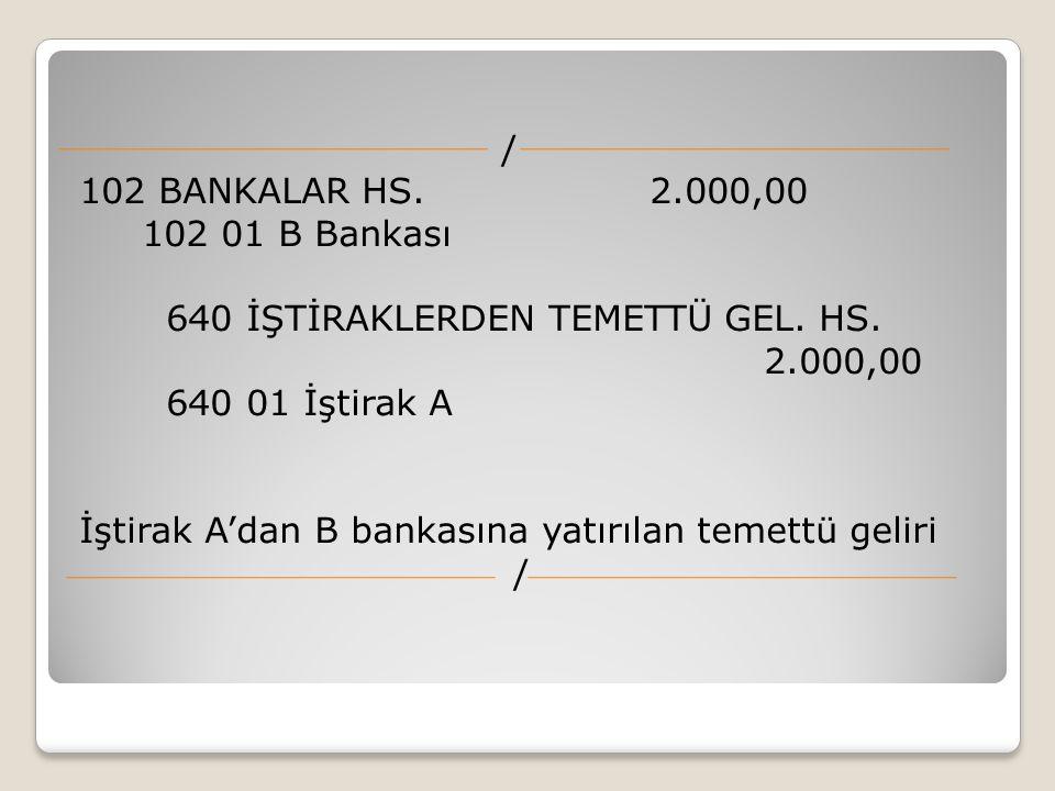 / 102 BANKALAR HS. 2.000,00 102 01 B Bankası 640 İŞTİRAKLERDEN TEMETTÜ GEL. HS. 2.000,00 640 01 İştirak A İştirak A'dan B bankasına yatırılan temettü