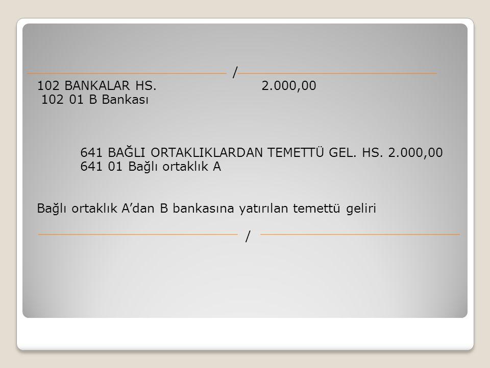 / 102 BANKALAR HS. 2.000,00 102 01 B Bankası 641 BAĞLI ORTAKLIKLARDAN TEMETTÜ GEL. HS. 2.000,00 641 01 Bağlı ortaklık A Bağlı ortaklık A'dan B bankası