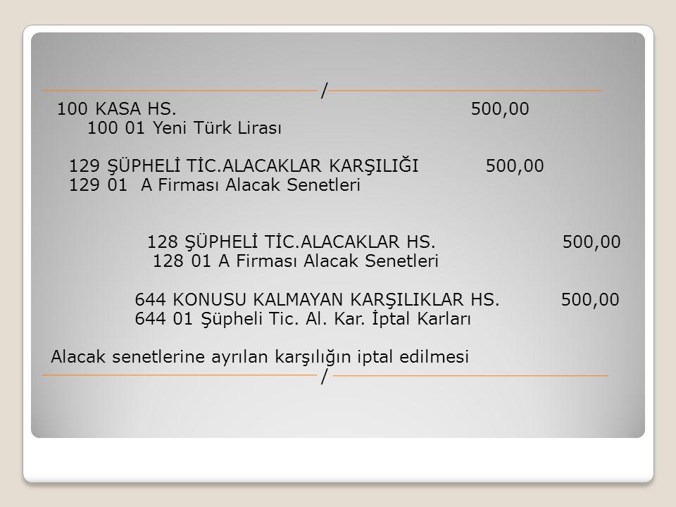 / 100 KASA HS. 500,00 100 01 Yeni Türk Lirası 129 ŞÜPHELİ TİC.ALACAKLAR KARŞILIĞI 500,00 129 01 A Firması Alacak Senetleri 128 ŞÜPHELİ TİC.ALACAKLAR H