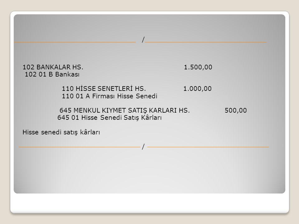 / 102 BANKALAR HS. 1.500,00 102 01 B Bankası 110 HİSSE SENETLERİ HS. 1.000,00 110 01 A Firması Hisse Senedi 645 MENKUL KIYMET SATIŞ KARLARI HS. 500,00