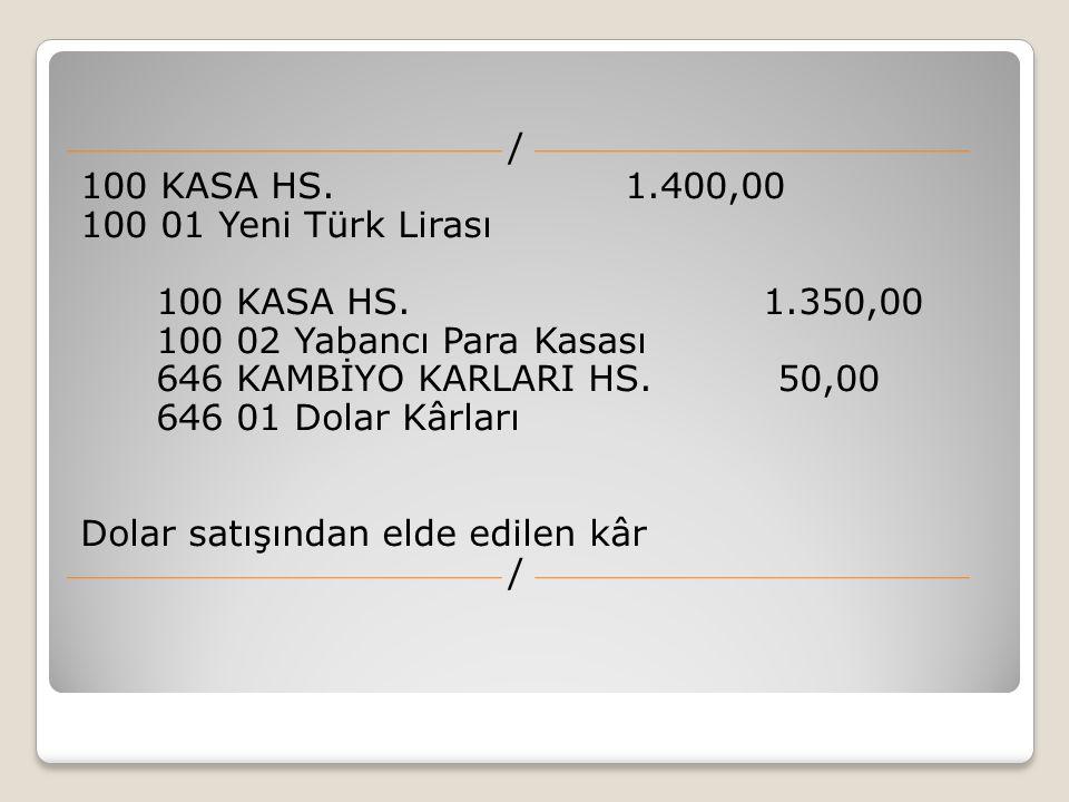 / 100 KASA HS. 1.400,00 100 01 Yeni Türk Lirası 100 KASA HS. 1.350,00 100 02 Yabancı Para Kasası 646 KAMBİYO KARLARI HS. 50,00 646 01 Dolar Kârları Do