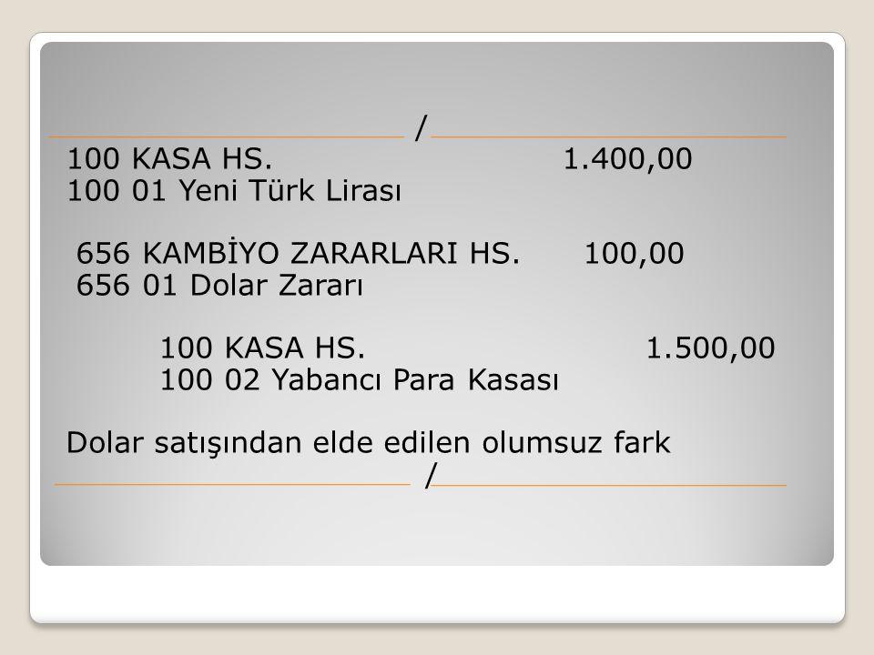 / 100 KASA HS. 1.400,00 100 01 Yeni Türk Lirası 656 KAMBİYO ZARARLARI HS. 100,00 656 01 Dolar Zararı 100 KASA HS. 1.500,00 100 02 Yabancı Para Kasası