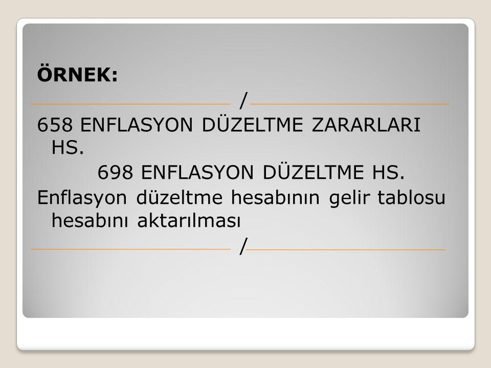 ÖRNEK: / 658 ENFLASYON DÜZELTME ZARARLARI HS. 698 ENFLASYON DÜZELTME HS. Enflasyon düzeltme hesabının gelir tablosu hesabını aktarılması /