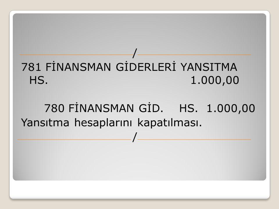781 FİNANSMAN GİDERLERİ YANSITMA HS. 1.000,00 780 FİNANSMAN GİD. HS. 1.000,00 Yansıtma hesaplarını kapatılması. /