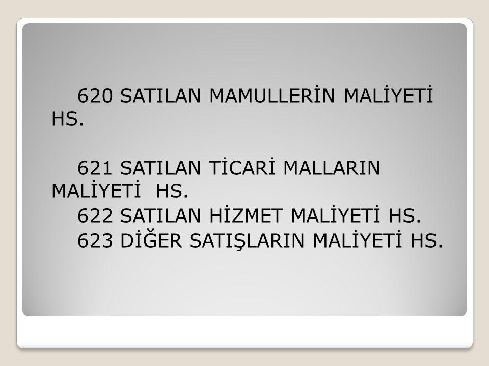 620 SATILAN MAMULLERİN MALİYETİ HS. 621 SATILAN TİCARİ MALLARIN MALİYETİ HS. 622 SATILAN HİZMET MALİYETİ HS. 623 DİĞER SATIŞLARIN MALİYETİ HS.