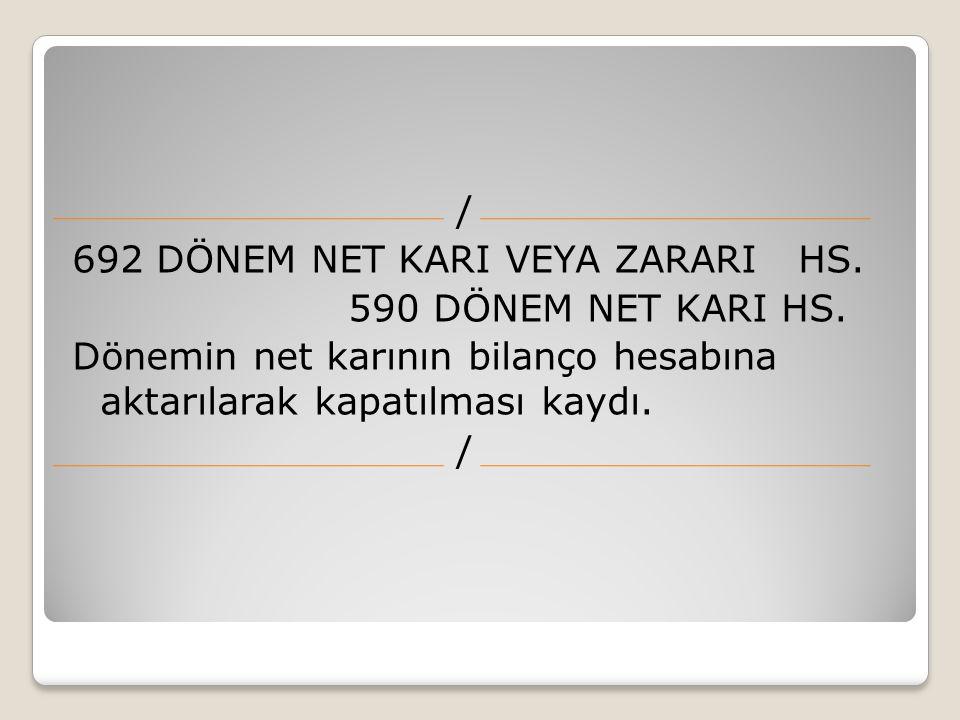 692 DÖNEM NET KARI VEYA ZARARI HS. 590 DÖNEM NET KARI HS. Dönemin net karının bilanço hesabına aktarılarak kapatılması kaydı. /