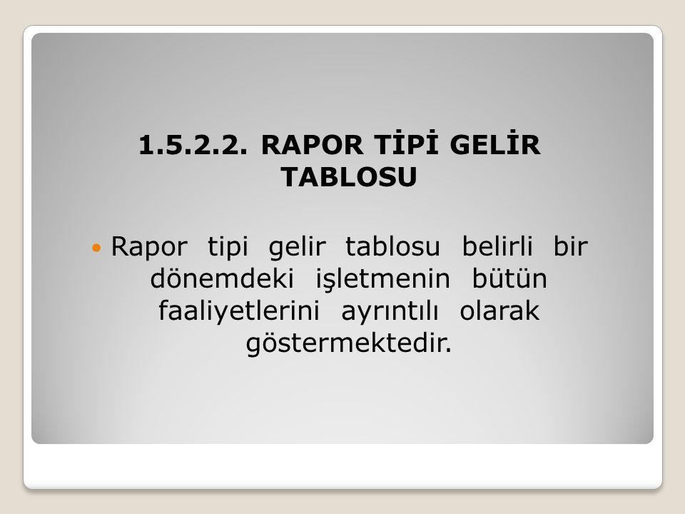 1.5.2.2. RAPOR TİPİ GELİR TABLOSU  Rapor tipi gelir tablosu belirli bir dönemdeki işletmenin bütün faaliyetlerini ayrıntılı olarak göstermektedir.