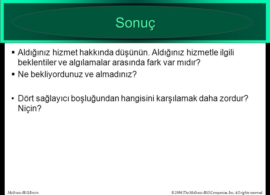 © 2006 The McGraw-Hill Companies, Inc. All rights reserved.McGraw-Hill/Irwin Sonuç  Aldığınız hizmet hakkında düşünün. Aldığınız hizmetle ilgili bekl