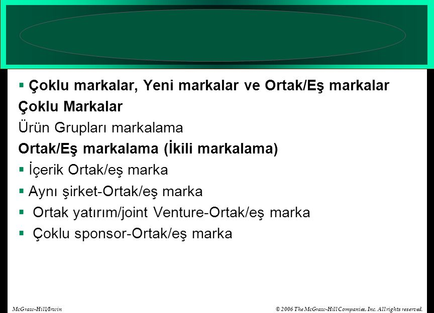 © 2006 The McGraw-Hill Companies, Inc. All rights reserved.McGraw-Hill/Irwin  Çoklu markalar, Yeni markalar ve Ortak/Eş markalar Çoklu Markalar Ürün